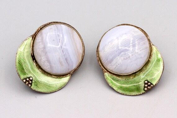 Earring Dragon Blood Jasper Blue Lace Agate Gemstone Cabochon Natural Silver Plated Earring Handcrafts Jewelry Earring GEK-90