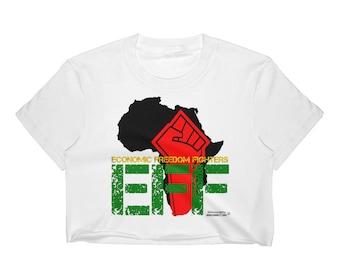 79f8e888475265 South Africa EFF Women s Crop Top Graphic Shirt Athletic Urban Wear Gift  Urban Apparel Women Crop Tops Black Women Crop Top Shirts