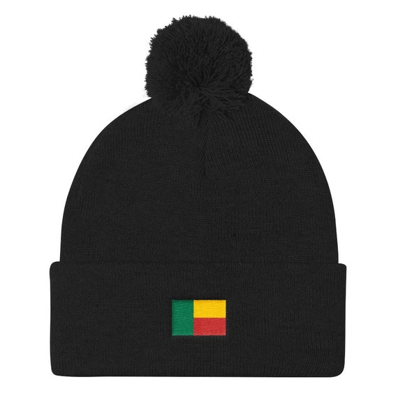 Benin Pan African Beanie Pom Pom Knit Cap Logo Hat Athletic  80ed92fe350