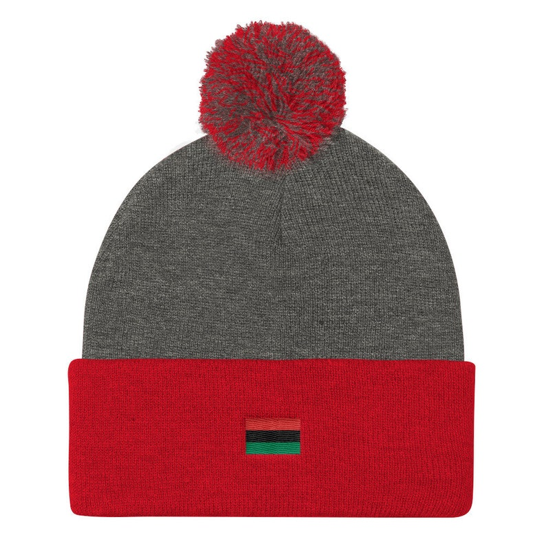 Afro Pan African American Beanie Pom Pom Knit Cap Logo Hat  4f1a8b26386