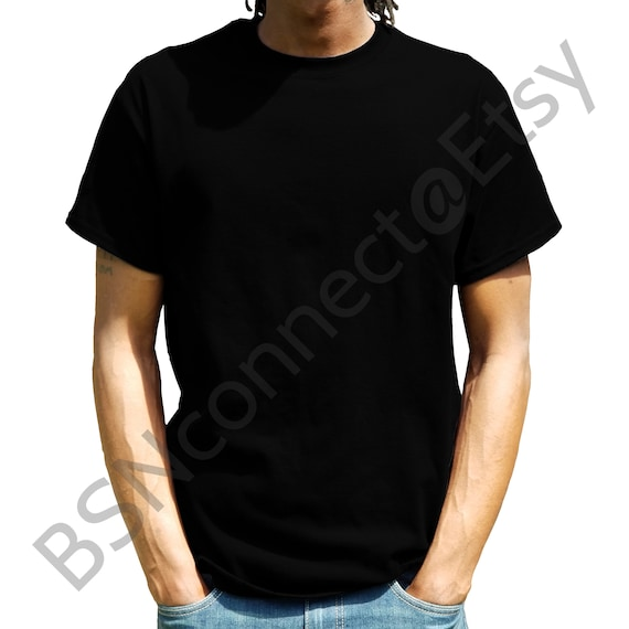 T Shirt Mockup Blank Black T Shirt Blanks Black Model Male Etsy