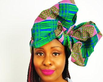 f8a4f9a981b06 Tamale African headwrap Ankara head wrap blue and green wax | Etsy