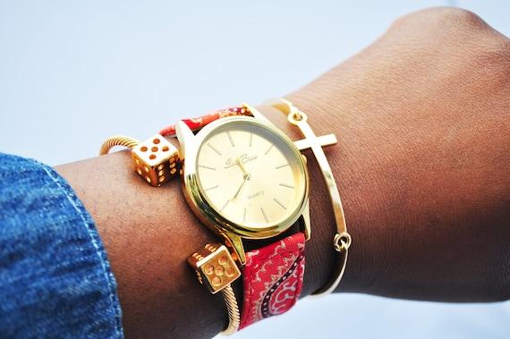 Red Gold Tone Ankara Loop Earrings