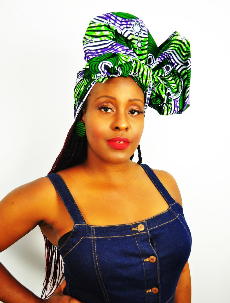 7ccdd0575f03d Taifa African headwrap, Ankara head wrap, Green and Purple, wax print head  tie, African headtie, ankara head scarf, African turban