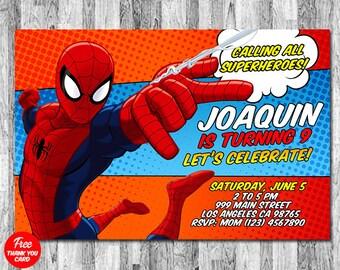 Spiderman Invitation Birthday Invites Spider Man Party Spidey Digital Download Thank You Card FREE