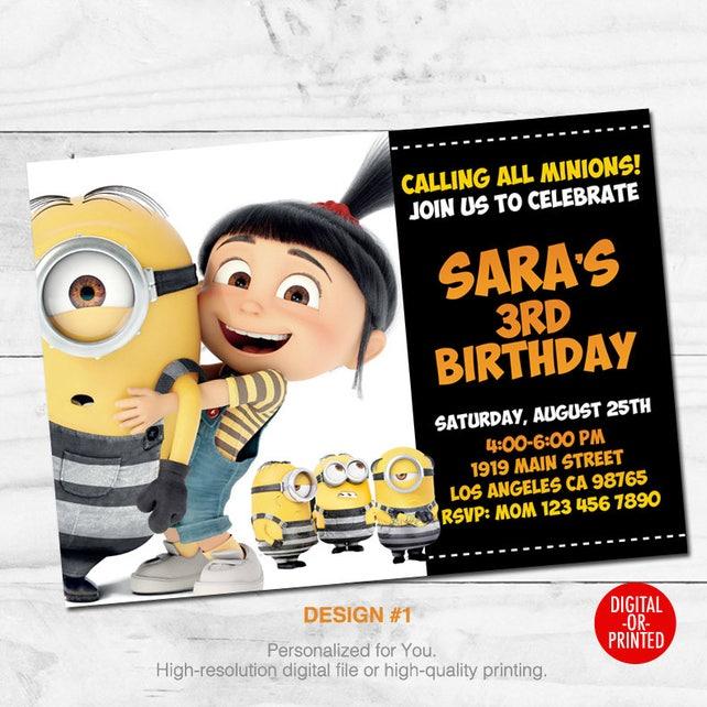 Despicable Me Invitations Party Invitation Movie 3 Printed Or Digital