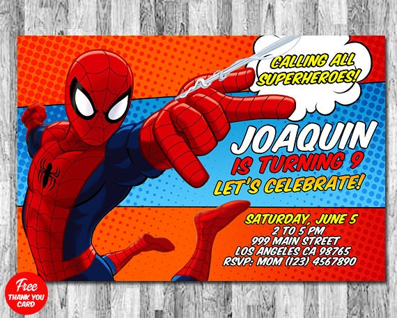 Spiderman Invitation Spiderman Birthday Invitation Free Etsy