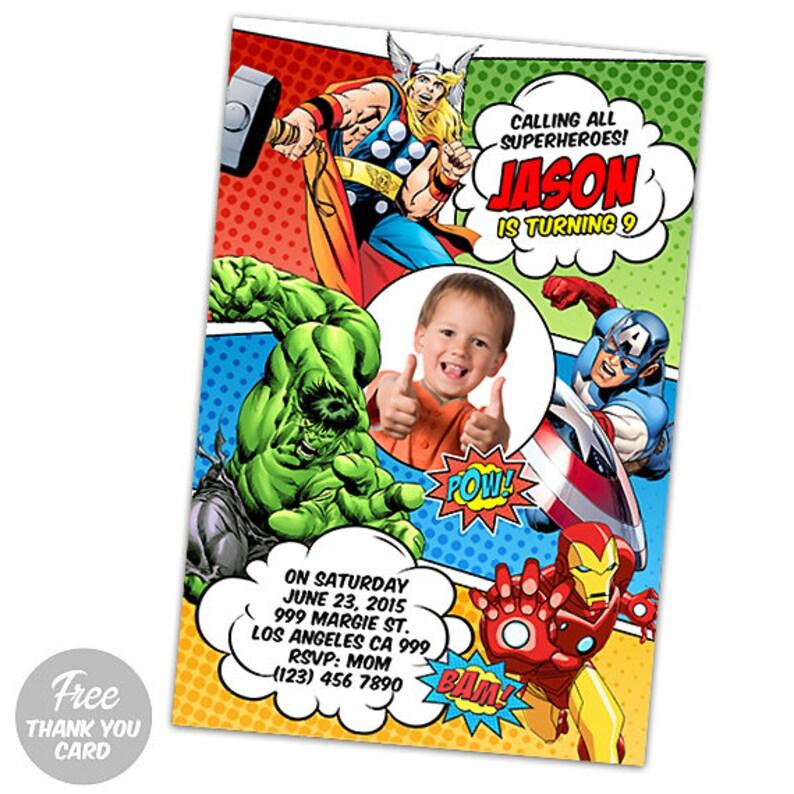 Avengers Invitation AVENGERS Birthday Superhero Invites Printable Hero Free Thank You Card