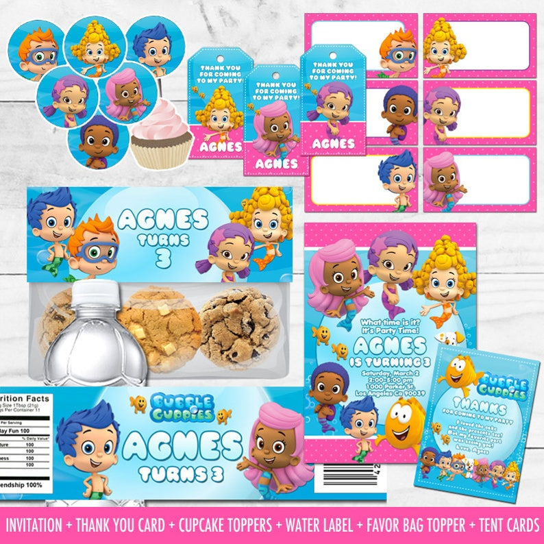 Bubble Guppies Party Decorations Printables Package Birthday Water Bottle Labels