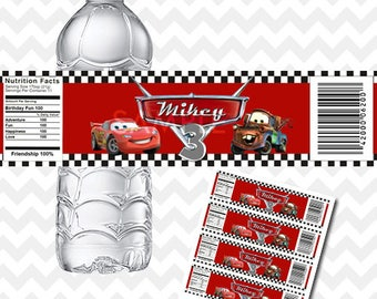 Disney Cars Water Bottle Labels, Cars Bottle Labels, Disney Cars Printable, Cars Birthday Party, Disney Cars Party Decoration, Personalized
