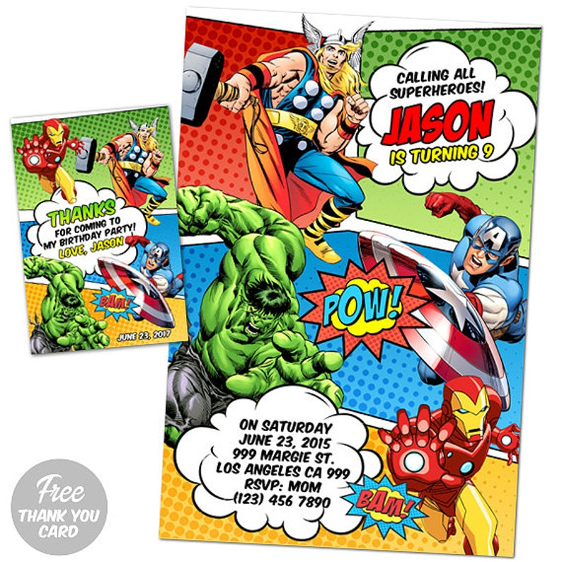 Avengers Invitation With Photo Printable Avengers Invitation Avengers Birthday Invitation Avengers Invites Avengers Superhero Invitation