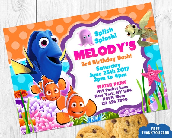 Finding Nemo Invitation Birthday Invites Thank You Card Party