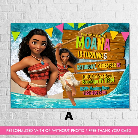 image regarding Moana Printable Invitations called Moana Invitation, Moana Birthday Invitation, Moana Printable Invitation, Moana Invitations, Disney Moana Invitation, Moana Thank Oneself Card