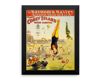 """Barnum & Bailey Circus Poster """"Coney Island"""" Framed Poster"""