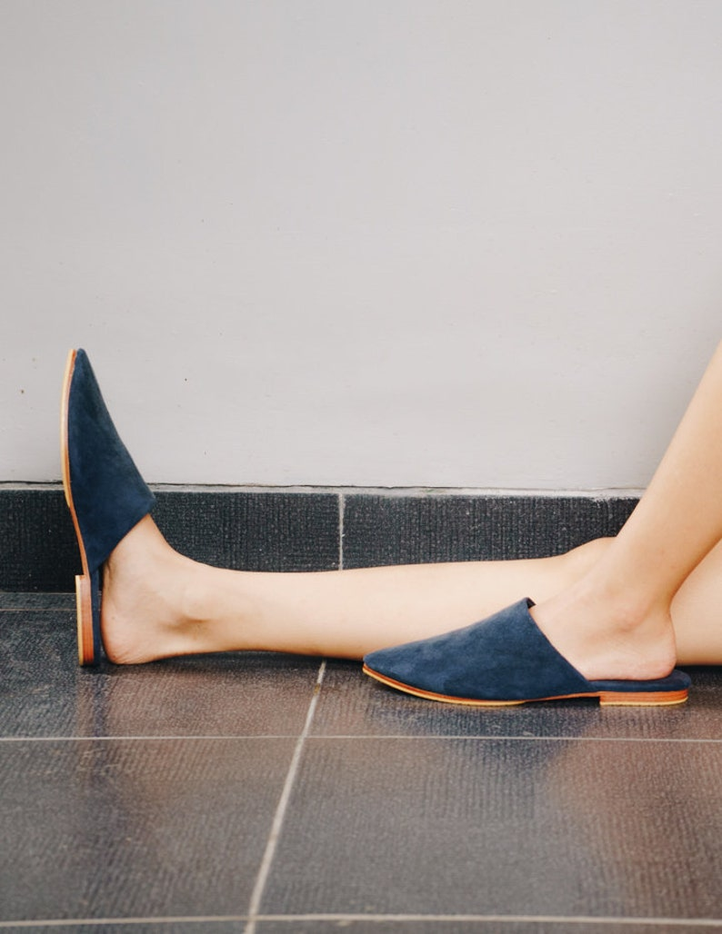 ANNA Pointed Blue Suede Mules, Womens Suede Mules, Mules Shoes, Summer Shoes, Tan Mules, Flat Mules, Beach Shoes, Pointed Slides