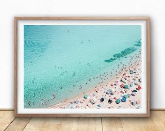 Aerial Beach Print, Beach Art Print, Digital Download, Beach Life, Modern Beach Poster, Sea Print, Teal Decor, Beach Photography, Busy Beach