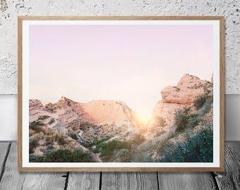California Desert Print - Sunset Wall Art, Arizona Rocks, Digital Download, Boho Decor, Southwestern Print, Wild Land, Pastel Sunshine Print