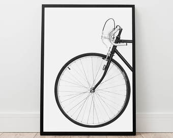 Bicycle Print - Scandinavian Wall Art, Digital Download, Printable Photo, Vintage Bike Print, Wheel Print, Black Bike Art, Modern Prints