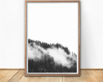 Black And White Mountain Print, Forest Wall Art, Digital Download, Foggy  Mountains Printable , Minimalist Decor, Living Room Wall Art