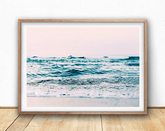 Abstract Ocean Print, Pastel Wall Art, Digital Download, Beach Art Print, Seascape Photography, Coastal Art Print, Beach Wave, Blush Pink