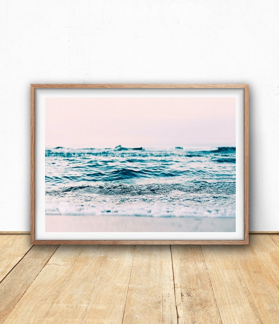 Abstract Ocean Print, Pastel Wall Art, Digital Download, Beach Art Print, Seascape Photography, Coastal Art Print, Beach Wave, Blush Pink