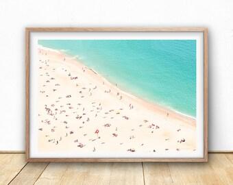 Beach Print, Contemporary Beach Wall Art, Digital Download,Aerial Beach Print, Busy Beach Poster, Sea Poster, Modern Beach Photography, Sand