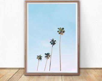 Palm Trees Print - Tropical Decor, Digital Download, Printable Poster, Tropical Leaves, California Wall Art, Hawaii Art, Minimalist Palm Art