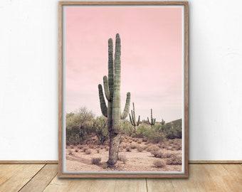 Cactus Picture, Printable Wall Art, Wall Decor, Home Decor, Desert Print, Cactus Print, Blush Pink, Digital Download, Nature Photography