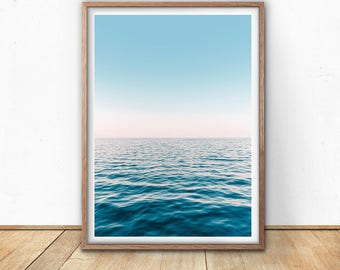 Water Art Print - Abstract Sea Print, Digital Download, Ocean Photography Print, Blue And Pink, Abstract Nature, Sea Water, Coastal Decor