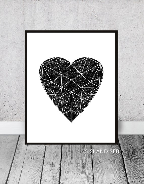 Geometric Heart Print Large Black and White Wall Art | Etsy
