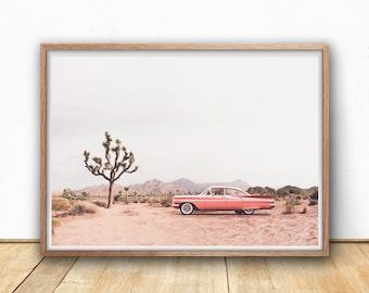 Coral Vintage Car in Joshua Tree Desert Print, Digital Download, Printable Wall Art, Modern Boho Wall Prints