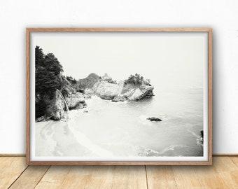 Coastal Printable Wall Art, Black and White Big Sur Photography Print