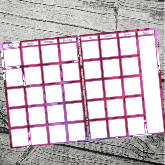 Bullet journal #1010 Month at a glance abstract Pink two page journal calendar