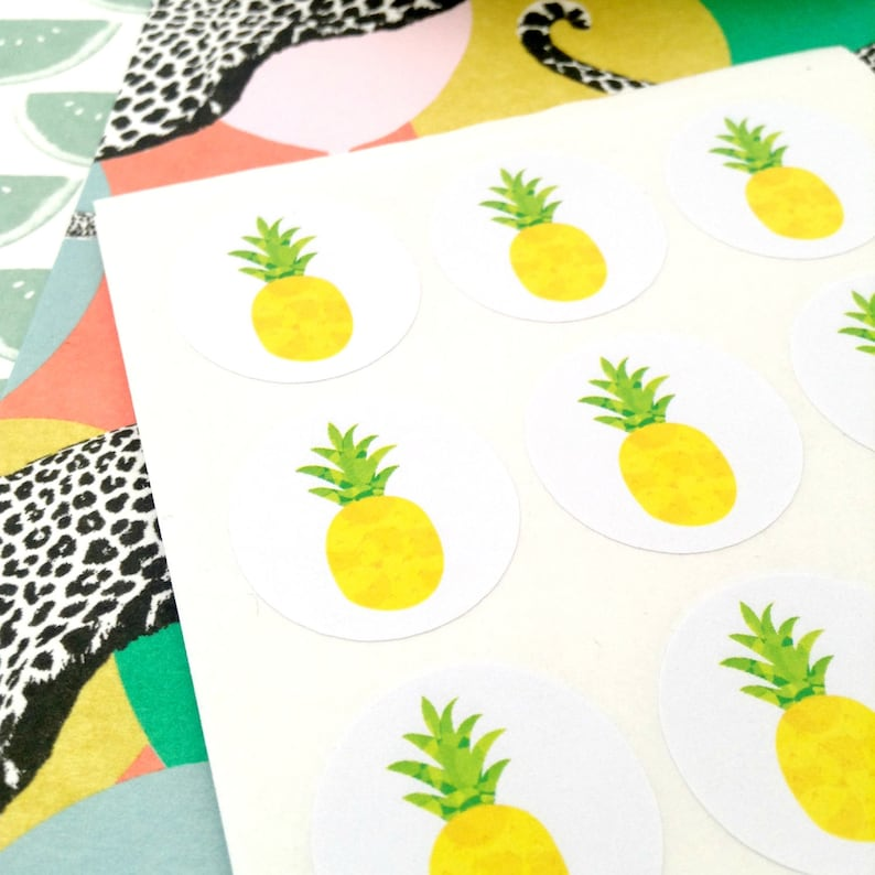 seals 96 thank you pineapple stickers Thanks Envelope seal pineapple #1052