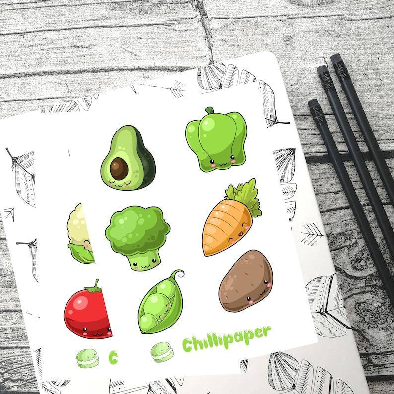 Kawaii vegetables, Cute kawaii planner stickers, planner stickers, Bullet  journal, Bujo stickers, health, reminder stickers