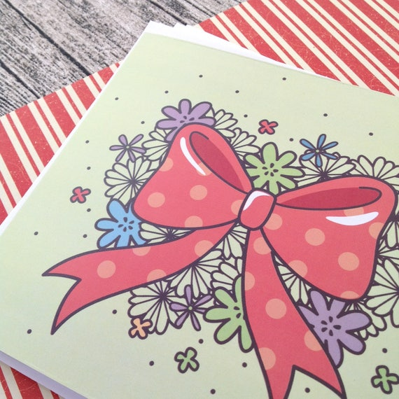 Kawaii Red Bow Greeting Cards Snail Mail Christmas