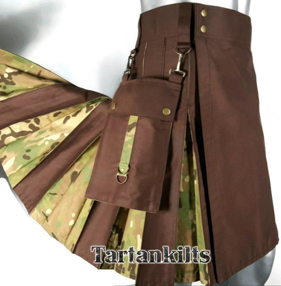 Brown /& Multi-cam Hybrid Detachable Pockets Kilt