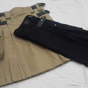 BLACK Gothic Style Fashion UTILITY KILT Custom Size Available Color Brown Blue Red Green White