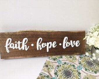 Faith Hope Love Wood Sign, hand-painted, home decor, gifts for her, wood sign decor, painted wood