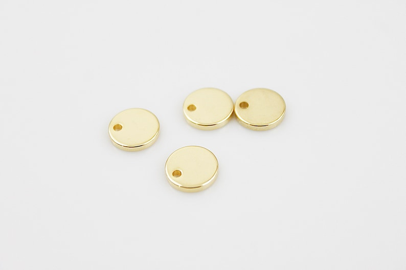 10  2 pcs 2 Gold Disc Charm Supply for Jewelry Making Gold Supplies GC