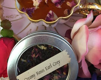 Creamy Roses Earl Grey Loose Leaf Black Tea in Window Tin or Pouch Earl Gray