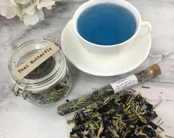 Thai Butterfly Blue Pea Flower Lemongrass Loose Leaf Tea in Glass Hermes Clamp Jar or Pouch No Caffeine