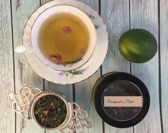 Pomegranate Mojito Loose Leaf Green Tea in Window Tin or Pouch