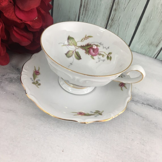 Windsor Rose China Japan Blue Roses Cup wSticker