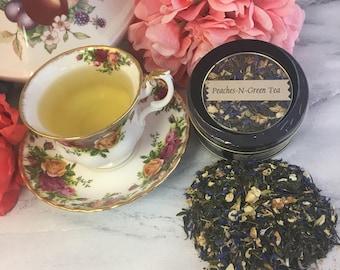 Peaches-N-Green Loose Leaf Tea 1.2 oz in Round Window Tin Tea Caddy or Pouch