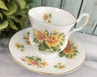 Yellow Orange Chrysanthemum Teacup Saucer Set by Royal Dover Vintage Fine Bone China Made in England Porcelain Lovely