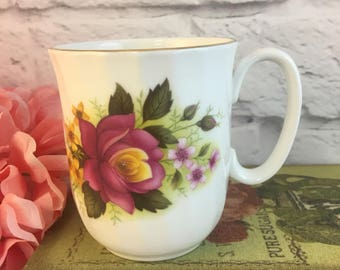 Duchess Pink Yellow Roses Coffee Cup Mug Vintage Fine Bone China Porcelain Lovely! Made in England
