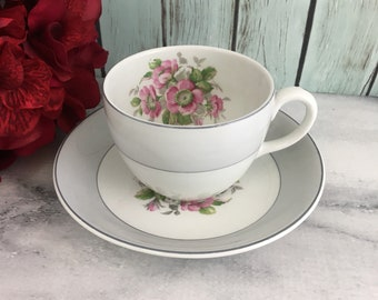 Pink Posies Royal Swan Tea Cup and Saucer Set Flowers Blossoms Bouquet Vintage England Made Lovely