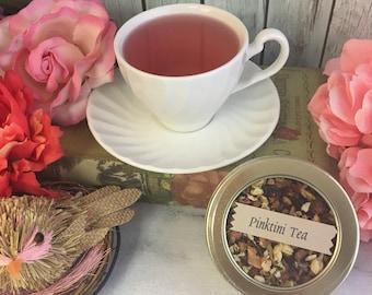 Pinktini Strawberry Kiwi Herbal Loose Leaf Fruit Tea No Caffeine 1 oz Round Window Tin Tea Caddy or Pouch