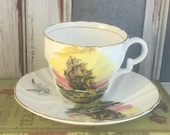 Stanley Clipper Ship Seagull Maritime Tea Cup and Saucer Fine Bone China Vintage England Made Numbered Lovely Good Condition